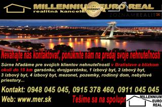 RK MER -Súrne hľadáme pre našich klientov 3 izbový byt, BA V Petržalka